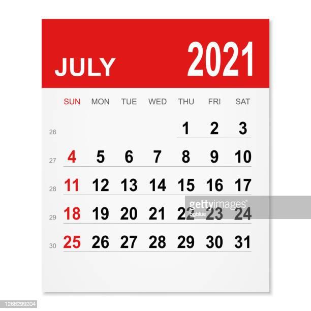 july 2021 calendar - today single word stock illustrations