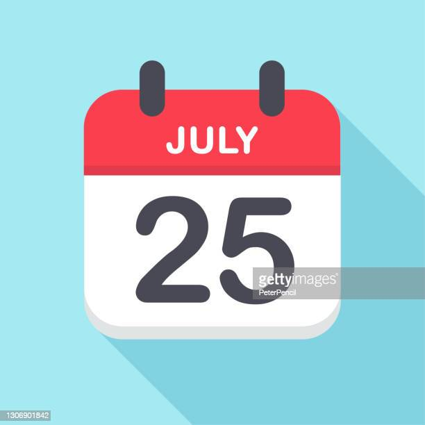 july 25 - calendar icon- new year - この撮影のクリップをもっと見る 2025 stock illustrations