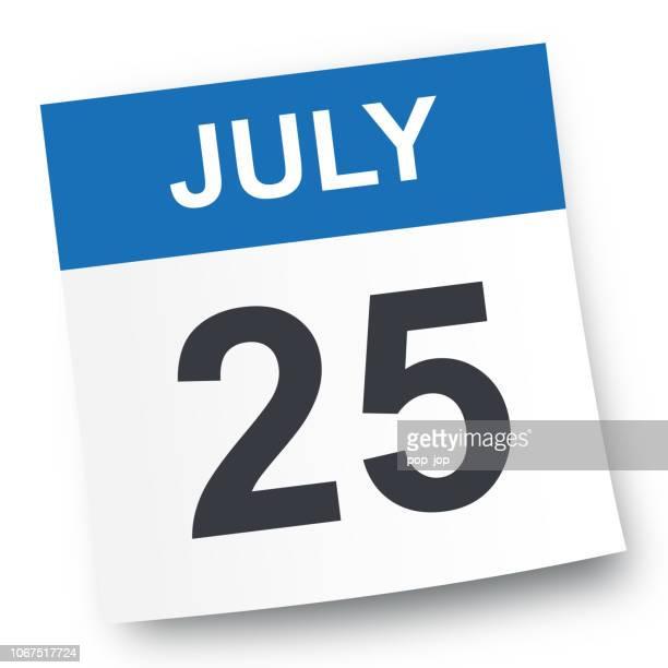 july 25 - calendar icon - july stock illustrations