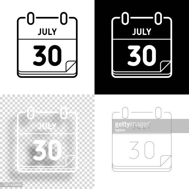 7月30日。デザイン用アイコン。空白、白、黒の背景 - ラインアイコン - 数字の30点のイラスト素材/クリップアート素材/マンガ素材/アイコン素材