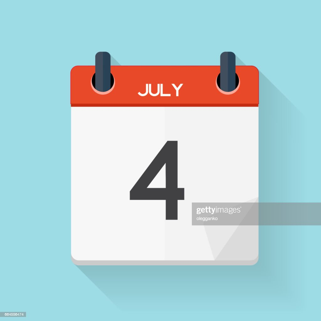 July 4 Calendar Flat Daily Icon. Vector Illustration Emblem. Ele