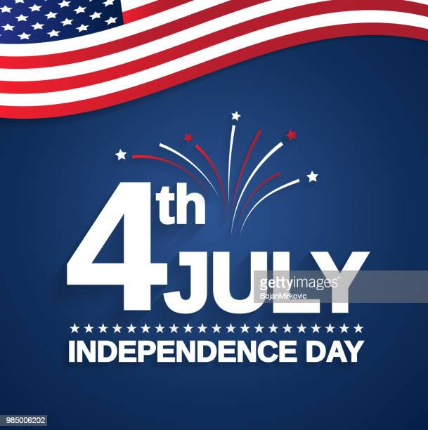july 4th. independence day card with usa flag. vector illustration. - fourth of july stock illustrations