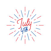 July 4th. Lettering logo for USA Independence Day celebration