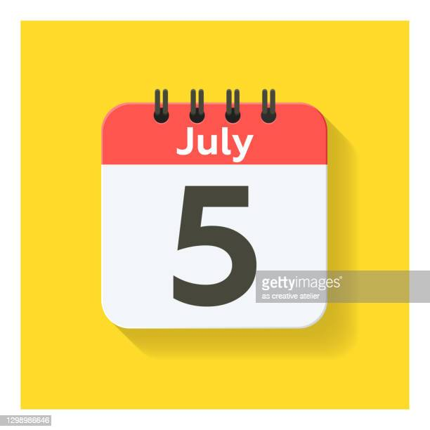 july 5 - daily calendar icon in flat design style. yellow background. - monday stock illustrations