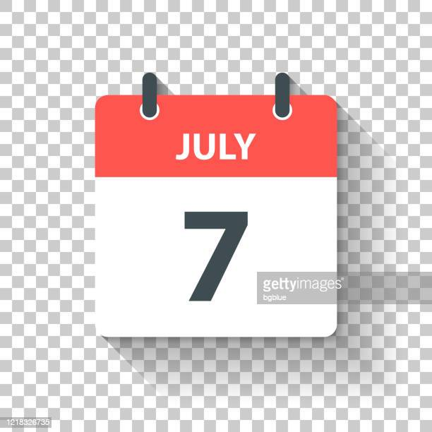 july 7 - daily calendar icon in flat design style - july stock illustrations