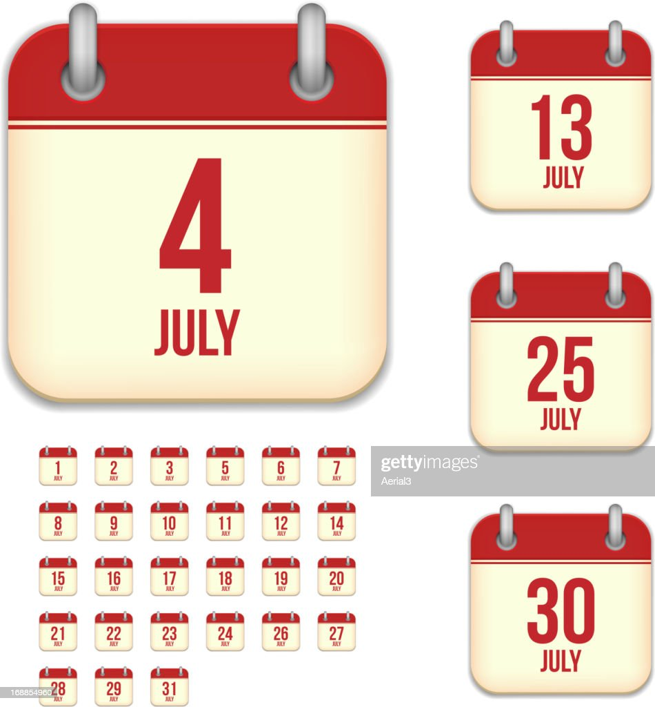 July days. Vector calendar icons
