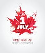 1 July. Happy Canada Day greeting card.