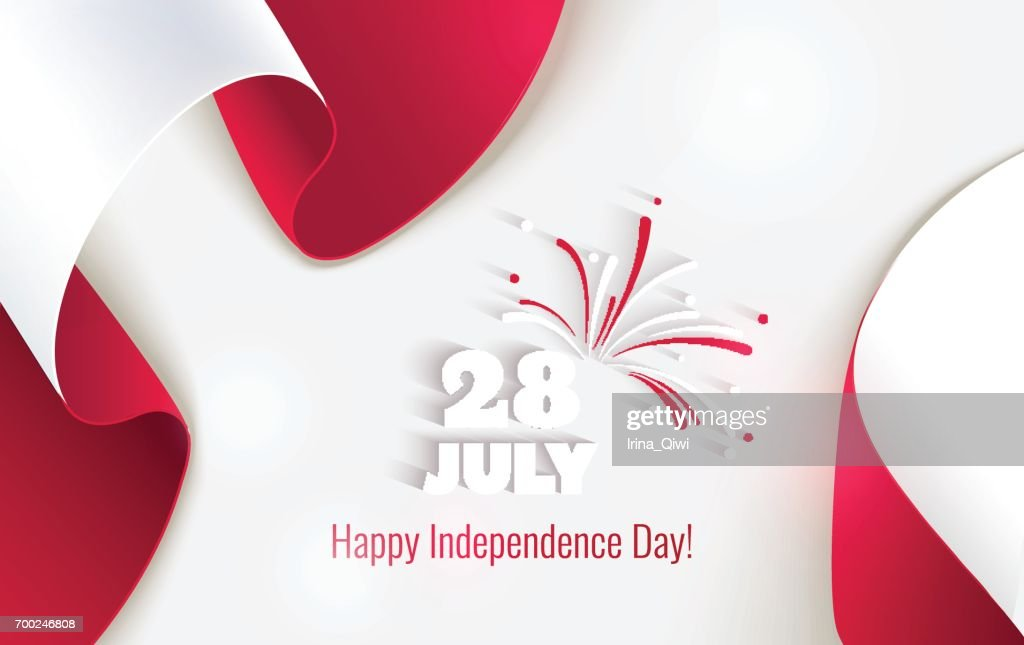 28 july. Peru Happy Independence Day greeting card.