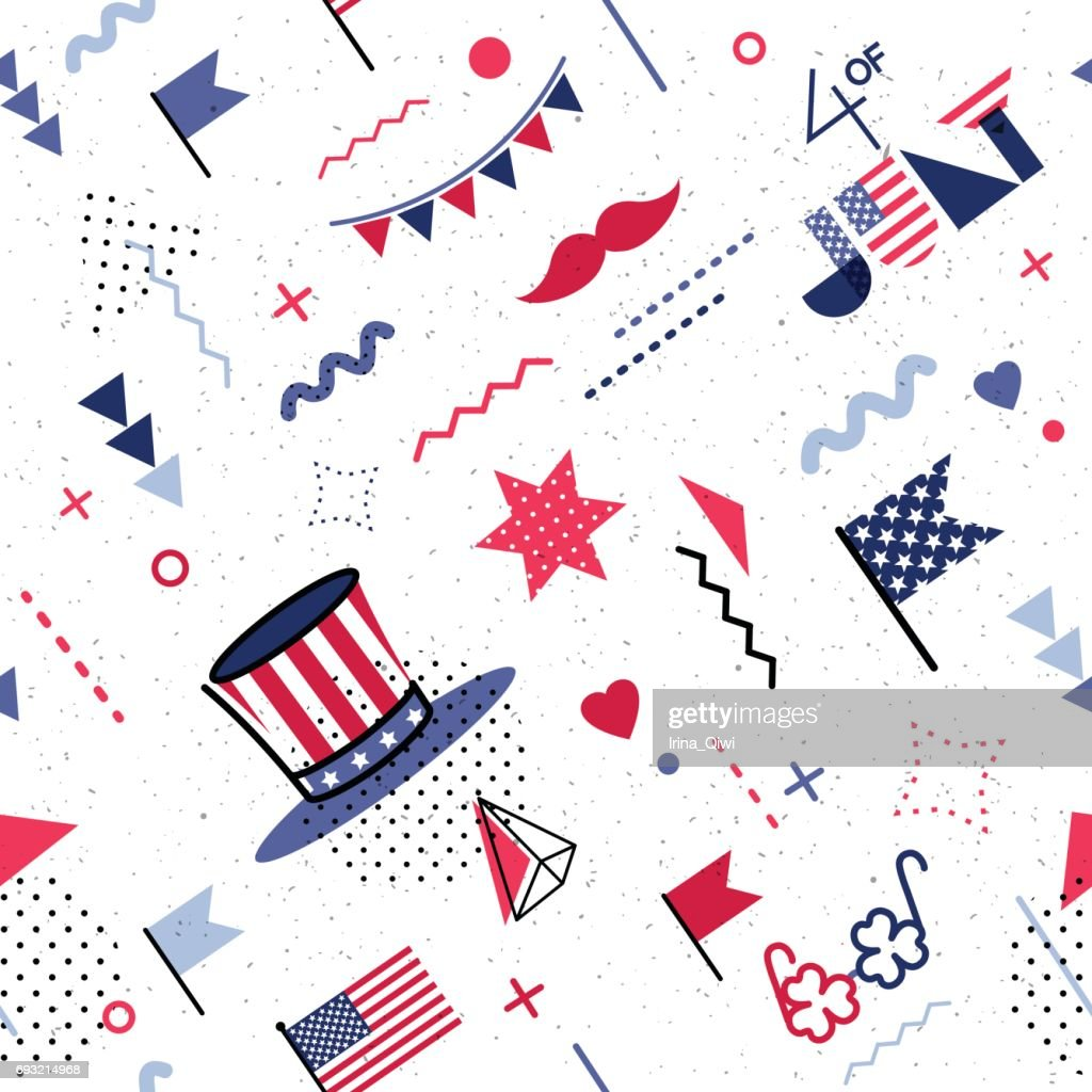 4 July USA Independence Day abstract background in 80s abstract style.