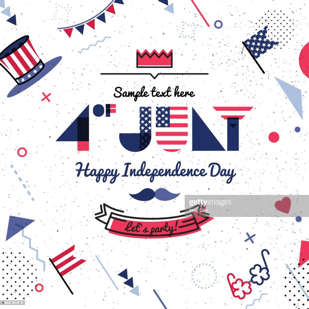 4 July USA Independence Day abstract background in 80s retro style.