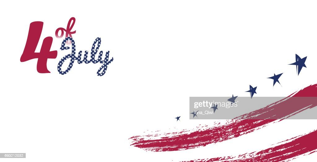 4 July, USA Independence Day greeting card.