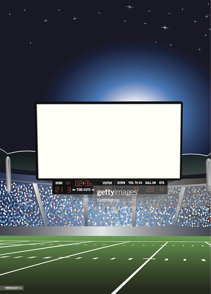 Jumbotron - Large Scale Screen in Football Stadium Background : stock illustration
