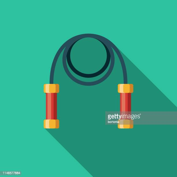 jump rope game flat design icon - skipping stock illustrations, clip art, cartoons, & icons