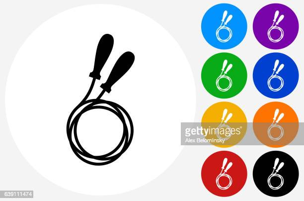jump rope icon on flat color circle buttons - jump rope stock illustrations, clip art, cartoons, & icons