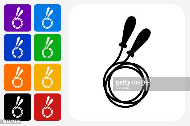 jump rope icon square button set - jump rope stock illustrations, clip art, cartoons, & icons