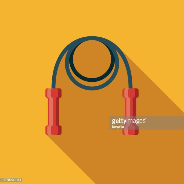 jump rope weight loss flat design icon - jump rope stock illustrations, clip art, cartoons, & icons