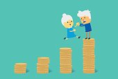 Jump to big pile of coin for financial goal to retirement.