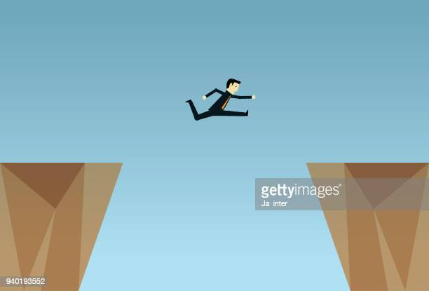 jump to other side - high up stock illustrations