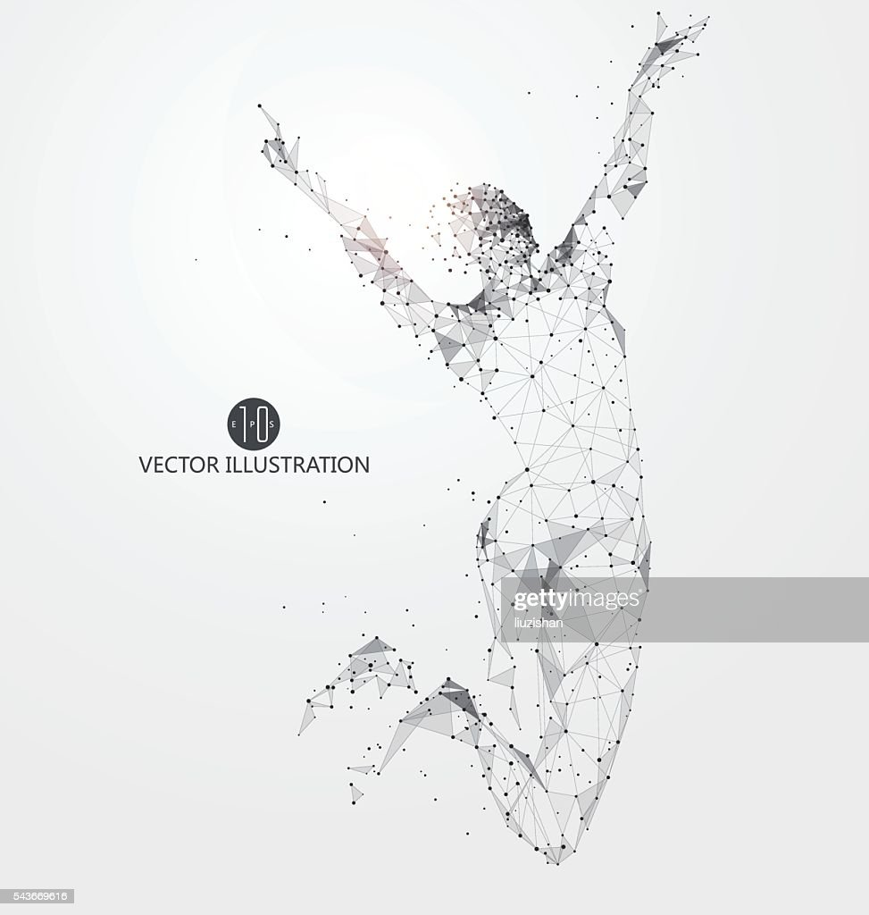 Jump woman, points, lines and connected to form, vector illustration.