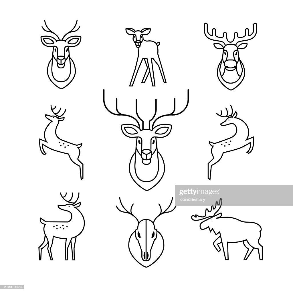 Jumping and standing deers, moose, antlers