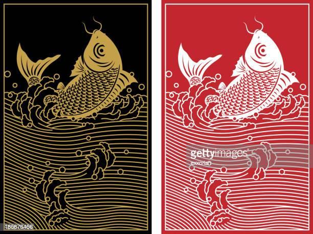 illustrations, cliparts, dessins animés et icônes de sauter carpe chinoise en papier découpé art - carpe