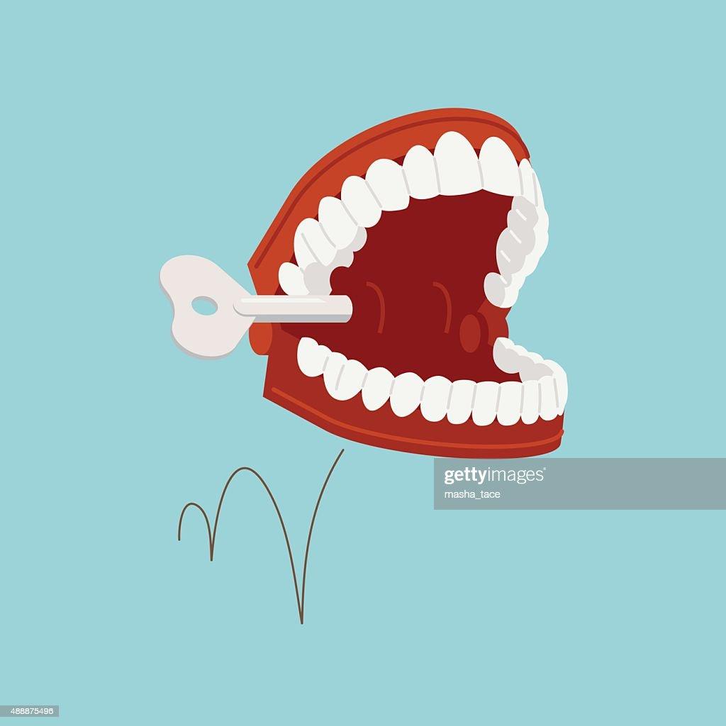 Jumping chattering teeth illustration