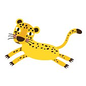 Jumping Cheetah animal cartoon character vector illustration.