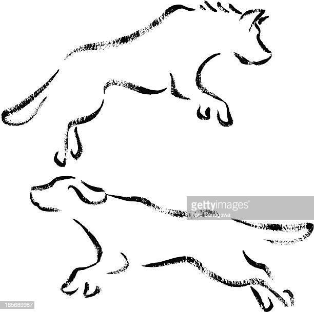 jumping dogs - golden retriever stock illustrations, clip art, cartoons, & icons