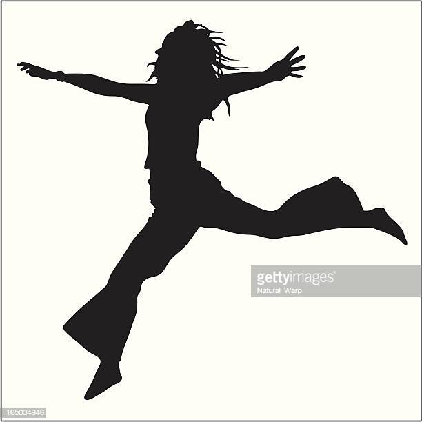 jumping girl 01 - stretched image stock illustrations, clip art, cartoons, & icons
