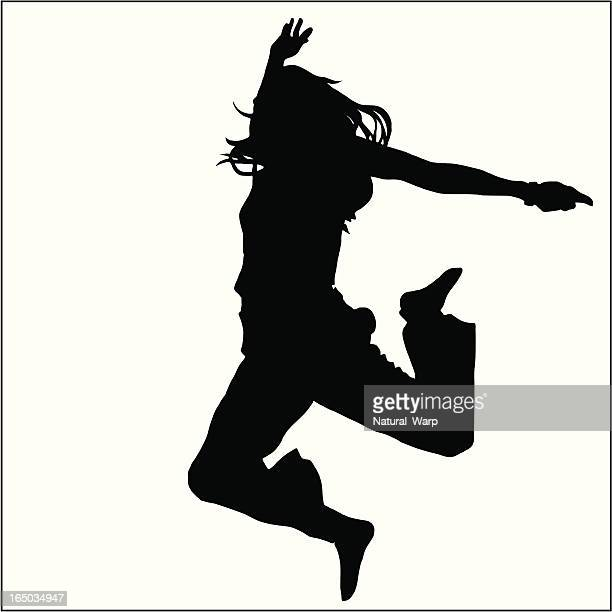 jumping girl 02 - dancing stock illustrations, clip art, cartoons, & icons