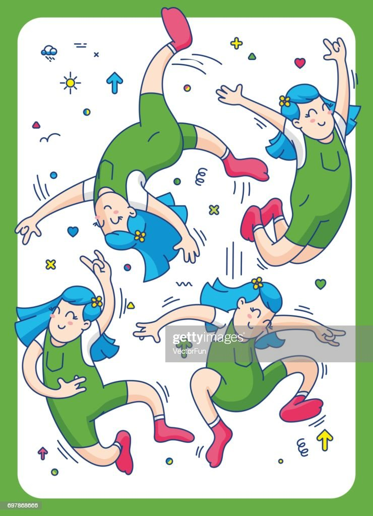 jumping girl, vector illustration of happy jumping kids playing on white background