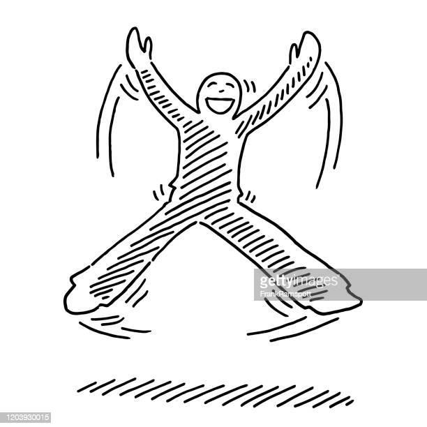 ilustrações, clipart, desenhos animados e ícones de pulando feliz desenho de figura humana - aerobics instructor