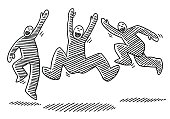 Jumping Happy Stick Figures Drawing
