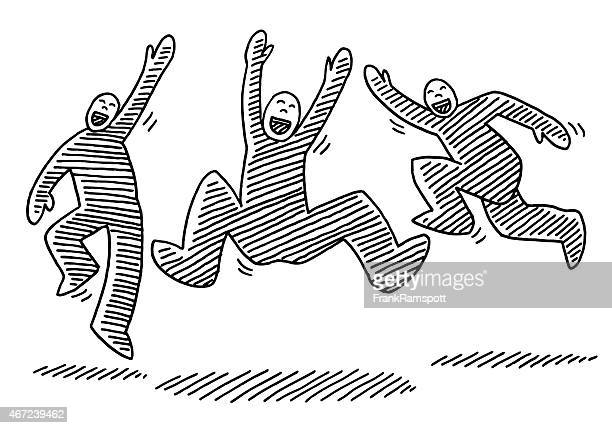 Jumping glücklich Strichmännchen inspiriert