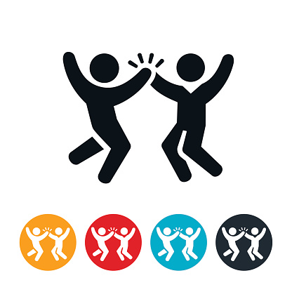 Jumping High Five Icon - gettyimageskorea