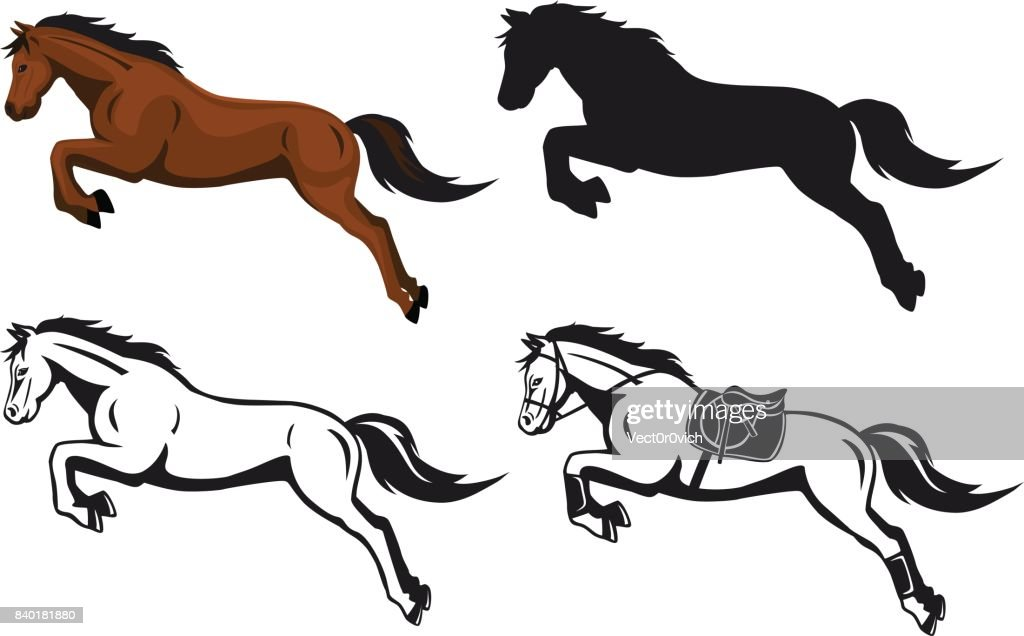 jumping horse in color contour silhouette