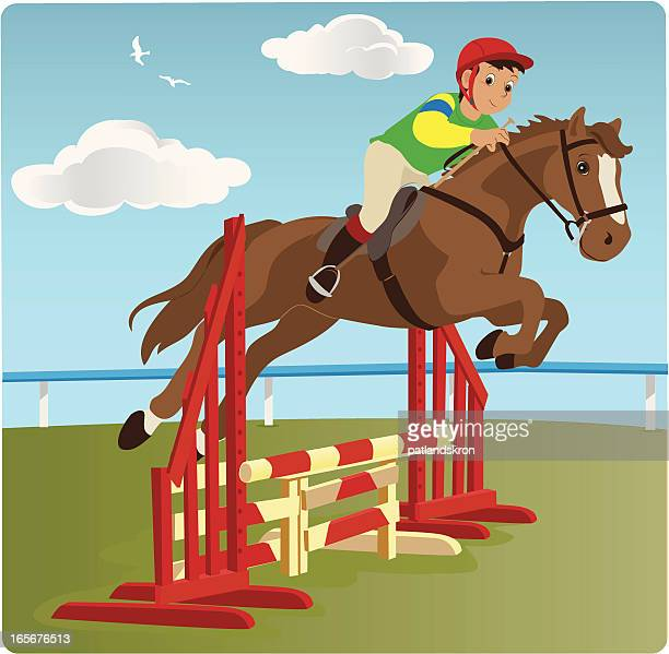 jumping horse with boy rider - equestrian show jumping stock illustrations