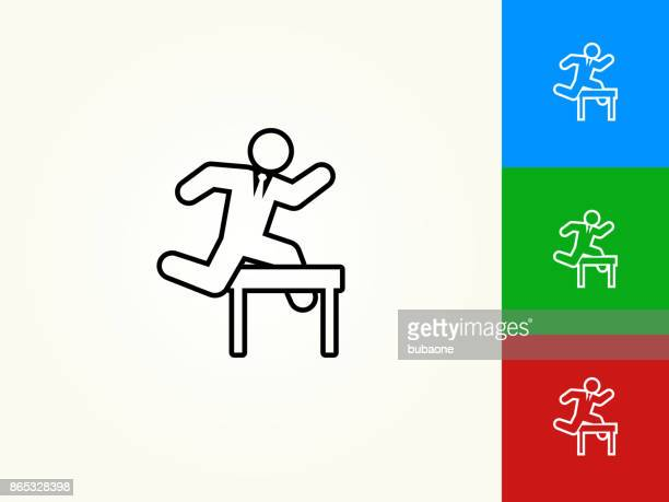 jumping hurdles businessman black stroke linear icon - hurdle stock illustrations