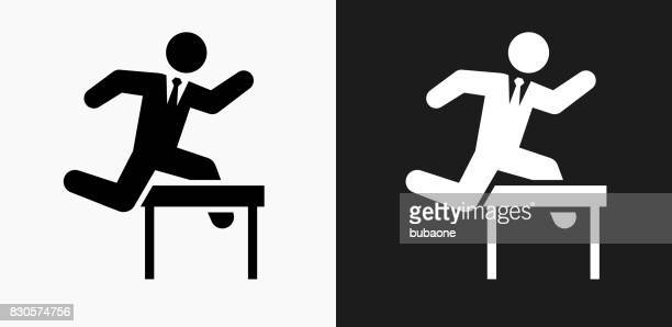 jumping hurdles businessman icon on black and white vector backgrounds - hurdle stock illustrations