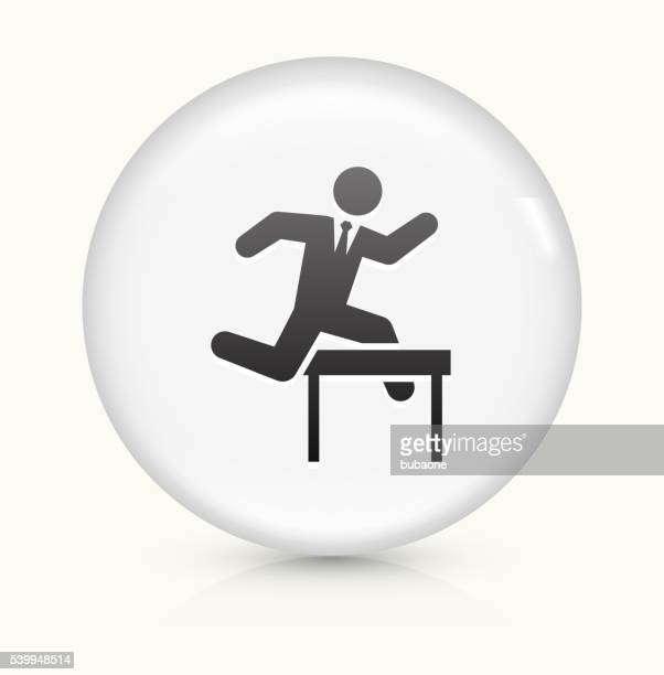 jumping hurdles businessman icon on white round vector button - long jump stock illustrations