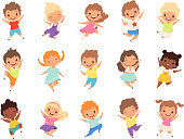 Jumping kids. Happy funny children playing and jumping in different action poses education little team vector characters