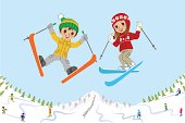 Jumping kids on ski slope