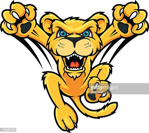 jumping lion cub - fighting stance stock illustrations, clip art, cartoons, & icons