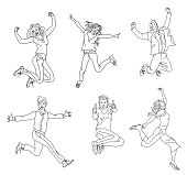 Jumping people outline isolated on white background.various poses jumping people character. hand drawn style vector design illustrations.happiness, freedom, motion and people concept.flat simple set