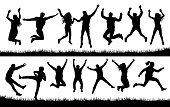 jumping people set crowd silhouette