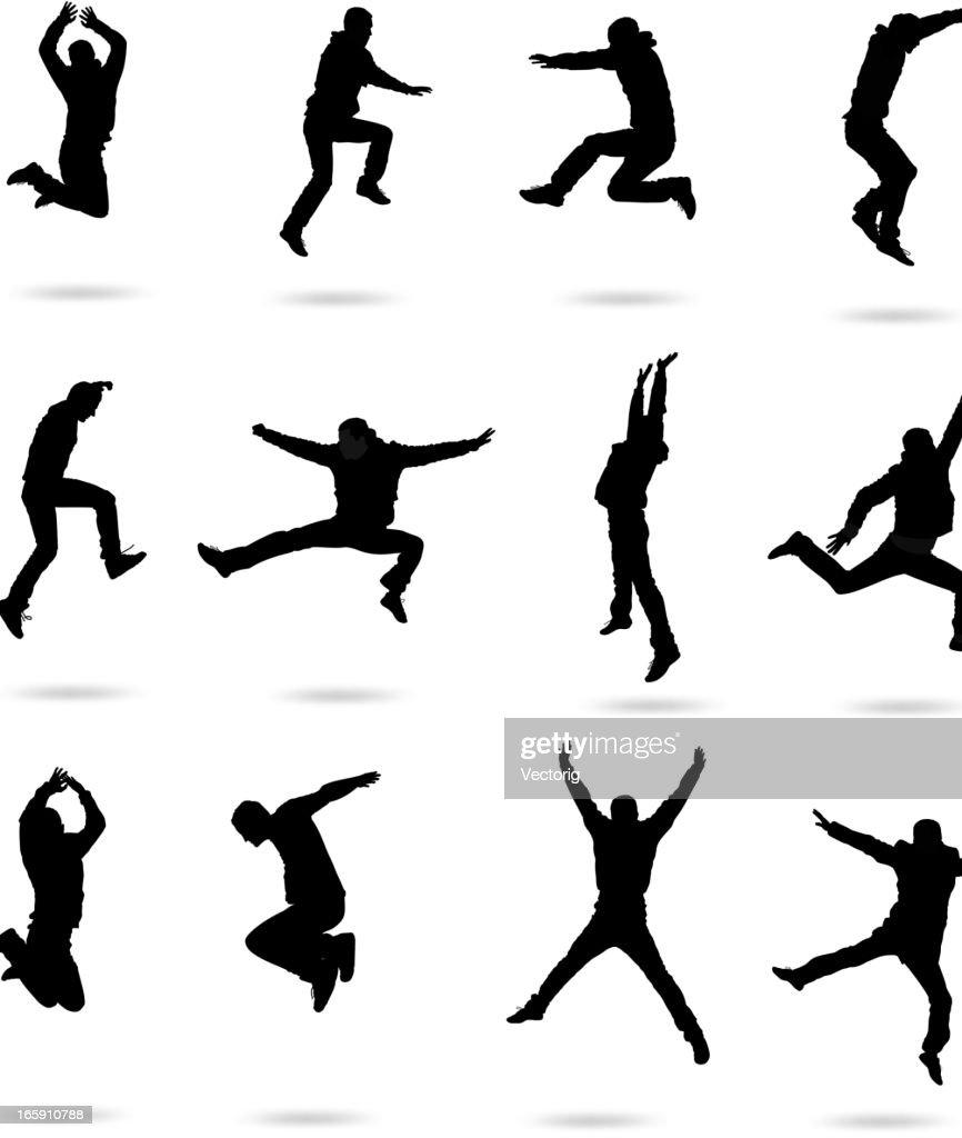 Jumping people : stock illustration