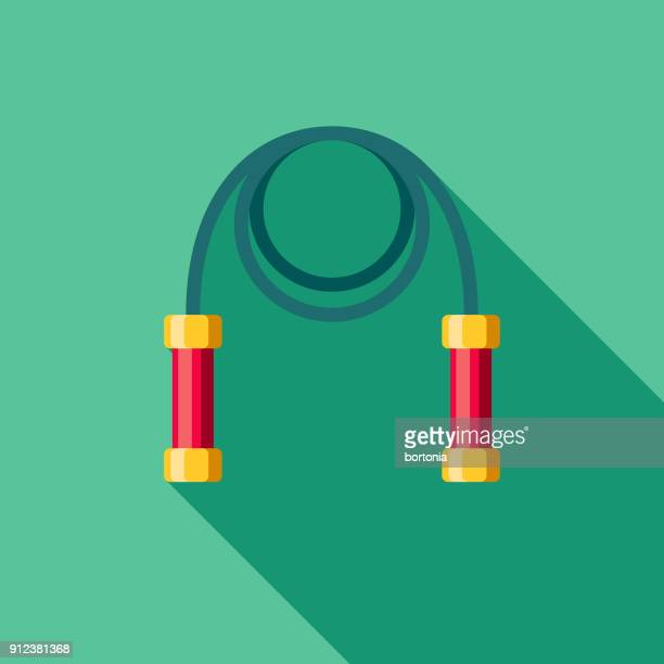 jumping rope flat design fitness & exercise icon - jump rope stock illustrations, clip art, cartoons, & icons