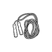 Jumping rope hand drawn outline doodle icon