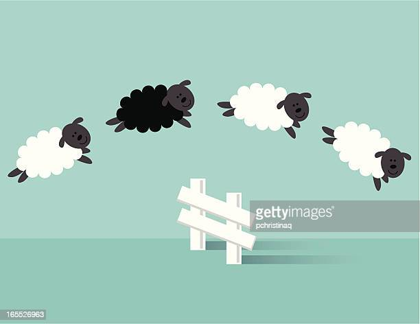 jumping sheep - sleeping stock illustrations