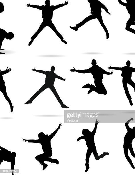 jumping silhouette - dancing stock illustrations, clip art, cartoons, & icons